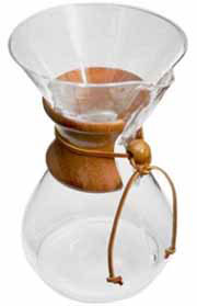Known as a pristine coffeemaker, Chemex employs all of the chemically correct methods for brewing. Its hourglass shaped flask is made entirely of glass, a chemically inert material that does not absorb odors or chemical residues.