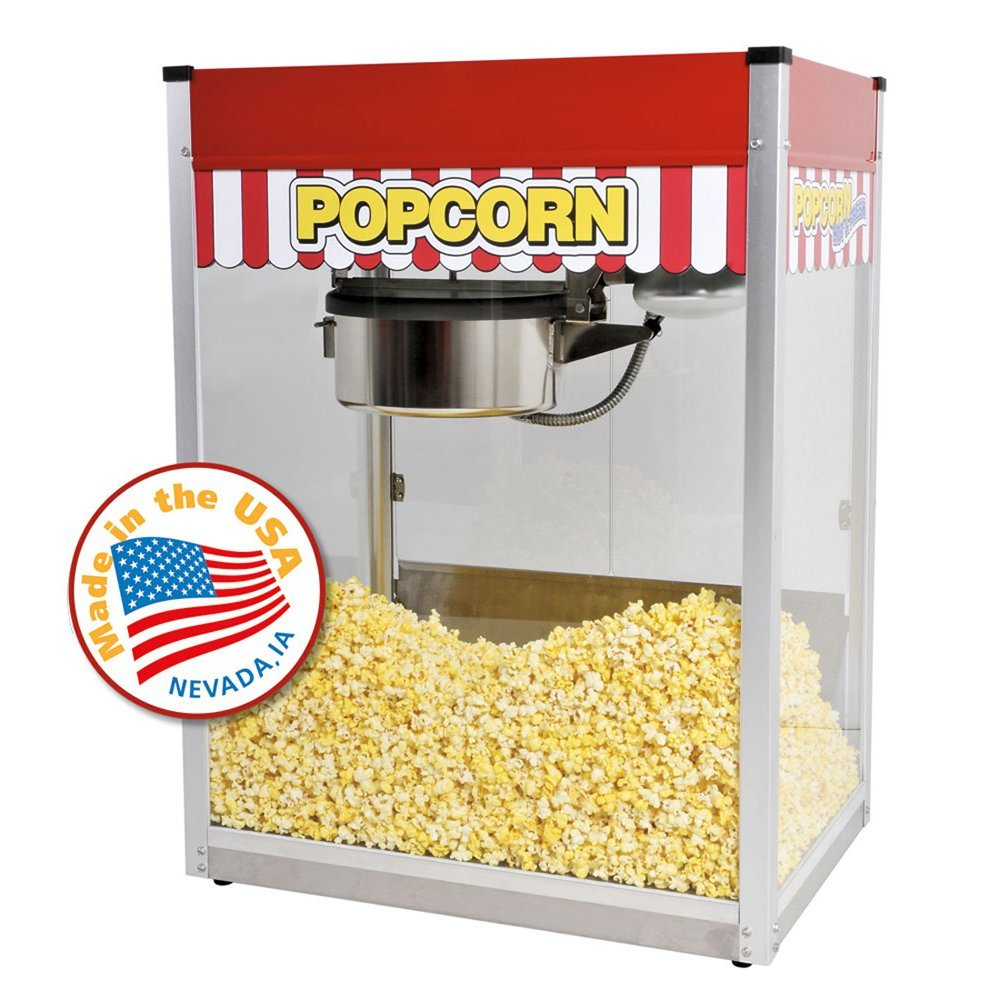 Ideal for home use, this popcorn machine is styled just like the one you see at the movie theater, with a bright red cabinet and classic graphics. The machine produces delicious, theater-quality popcorn in just three to five minutes, and can pop up to 92 servings of popcorn per hour (1 ounce of popcorn per serving).