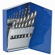 "The drill bits are made of premium high speed steel, and have a 135-degree split point that eliminates ""walking"" and reduces feed pressure for easier penetration. Bits are ideal for drilling mild steel, sheet metal, alloy steel, aluminum, stainless steel, wood and plastics, and are also compatible with quick-change impact drivers."